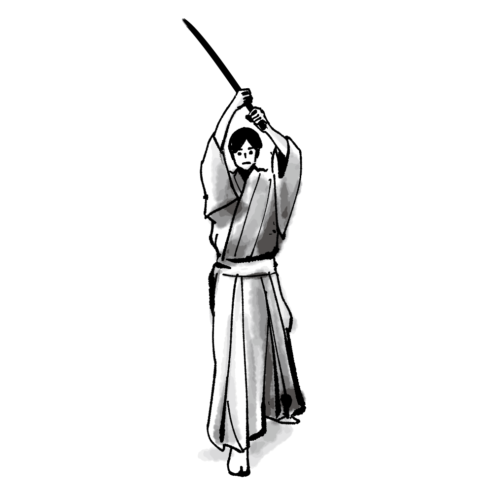(和風墨絵)剣を上げる男性のイラスト (Japanese style ink painting) Men's illustration raising a sword