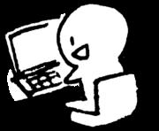 パソコン使用中のイラスト PC in use illustration
