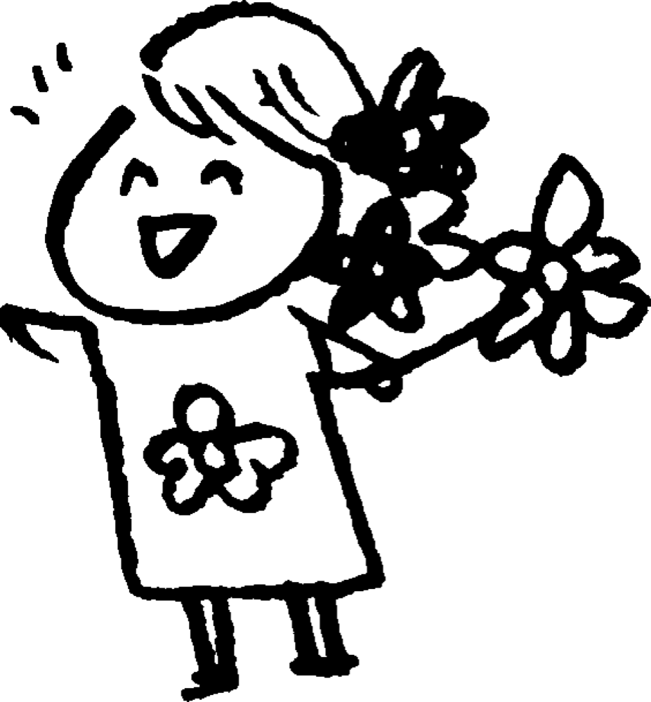 花屋の女性 Flower shopのイラスト