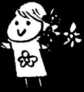 花を持つ女性 A woman with flowersのイラスト