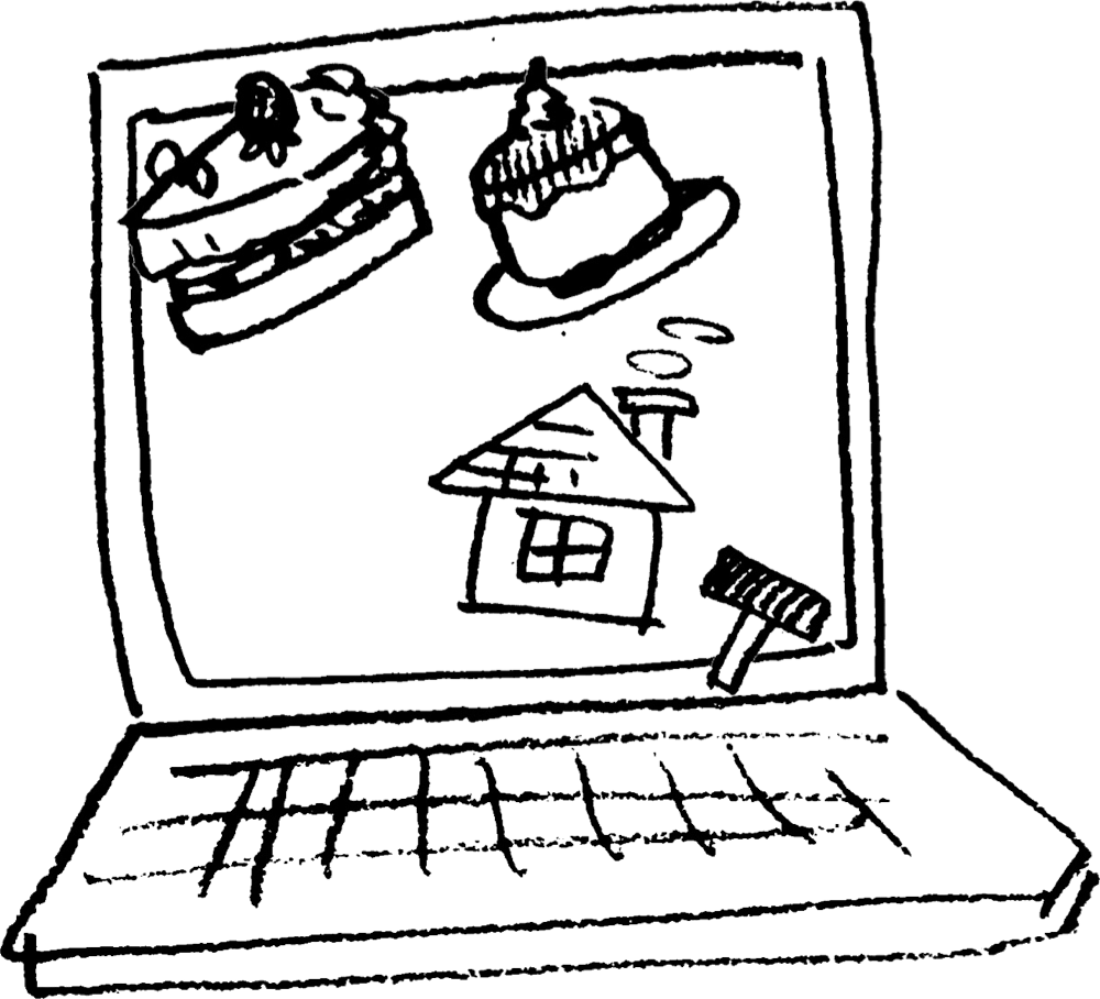 パソコンで調べもの(画面)PC Searchのイラスト Illustration