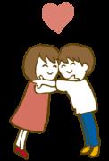 抱き合うカップル hug coupleのイラスト
