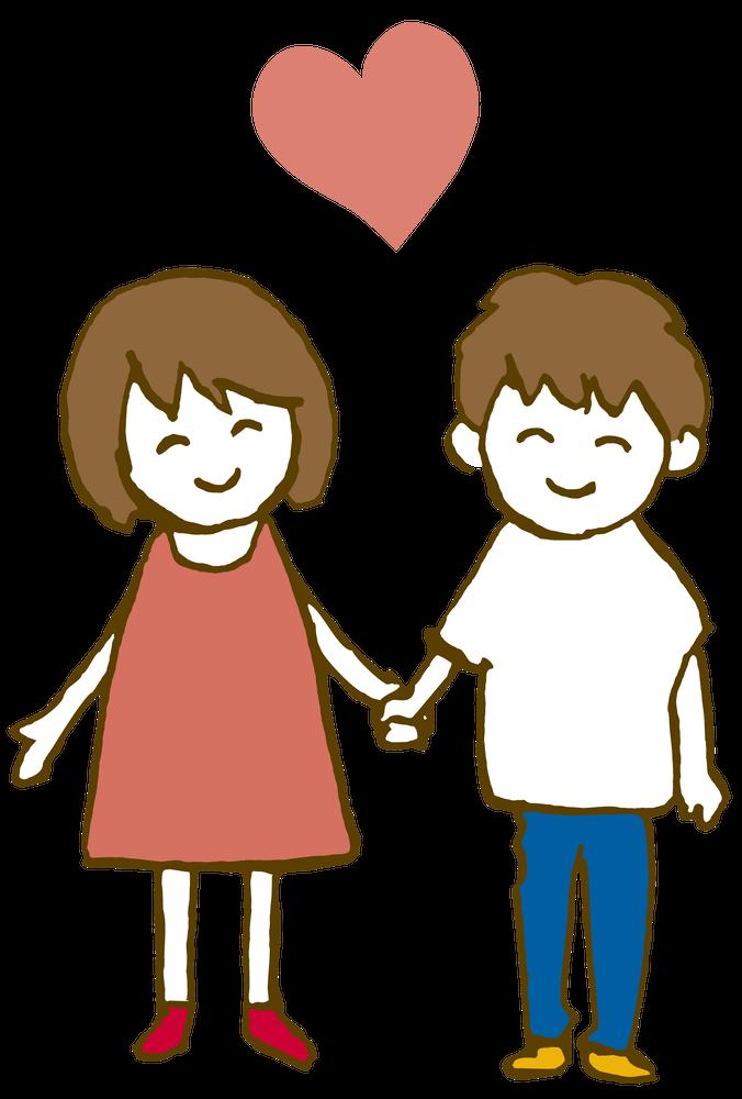 手をつないで立つ恋人同士、カップル Loversのイラスト
