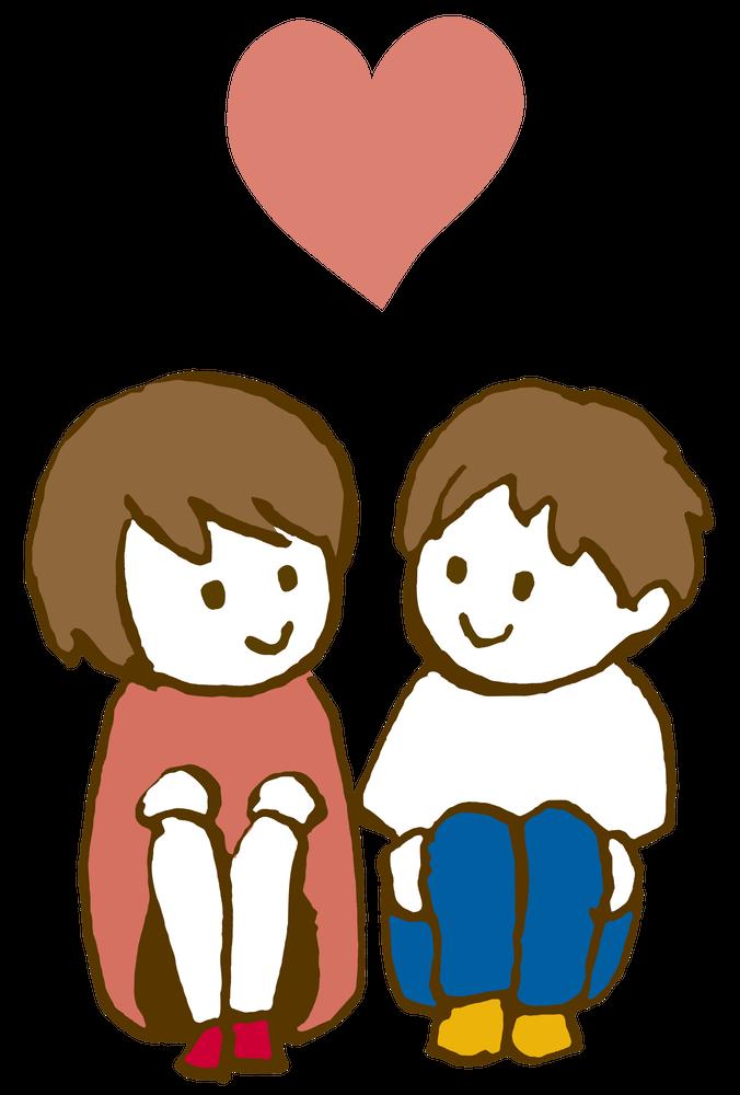 座って見つめあうカップル Loversのイラスト