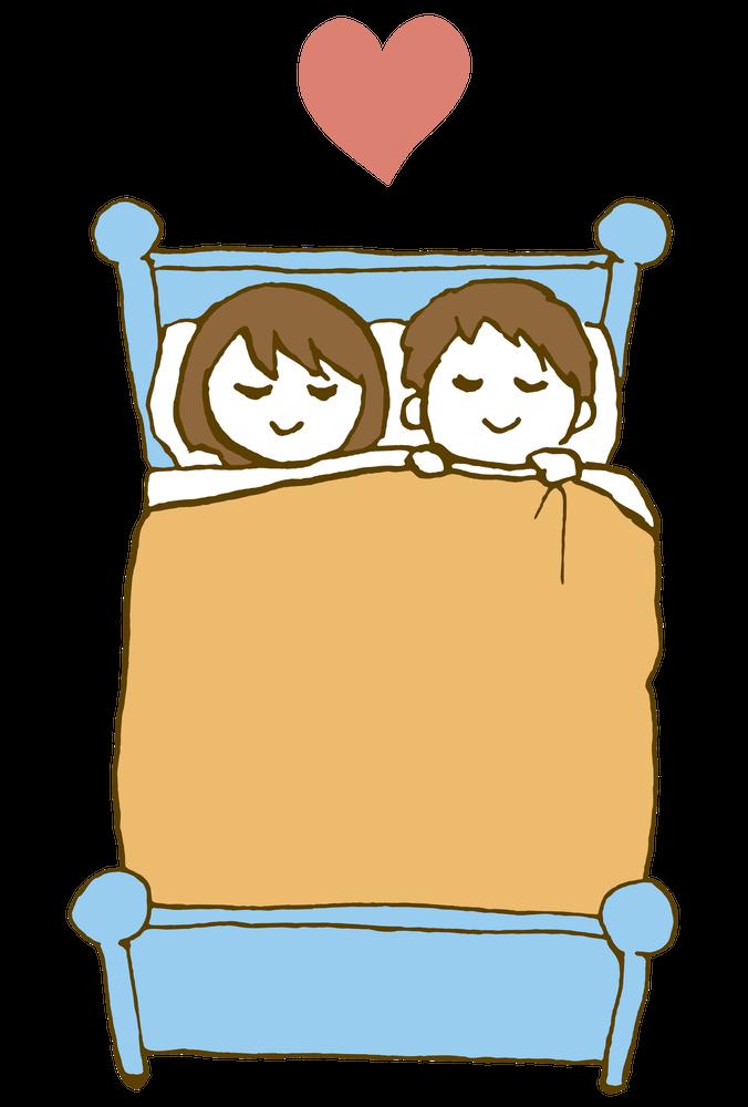 一緒に眠る仲良しの恋人同士 Loversのイラスト