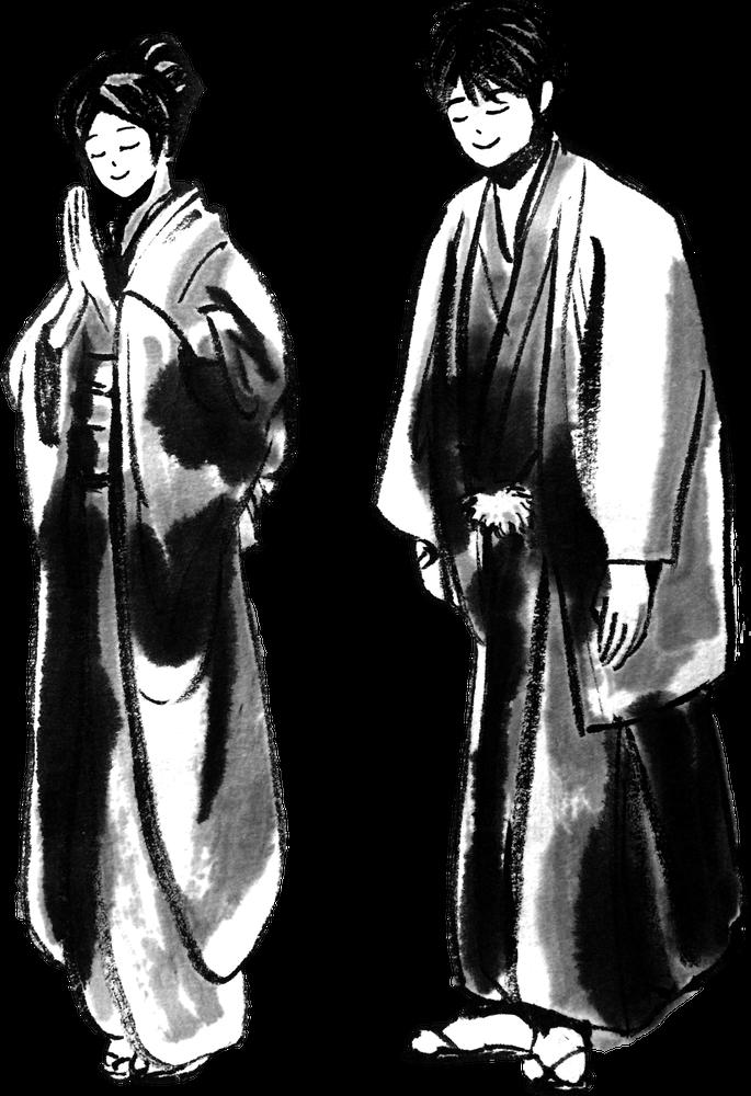 おじぎをする日本人 Japanese bowingのイラスト samurai