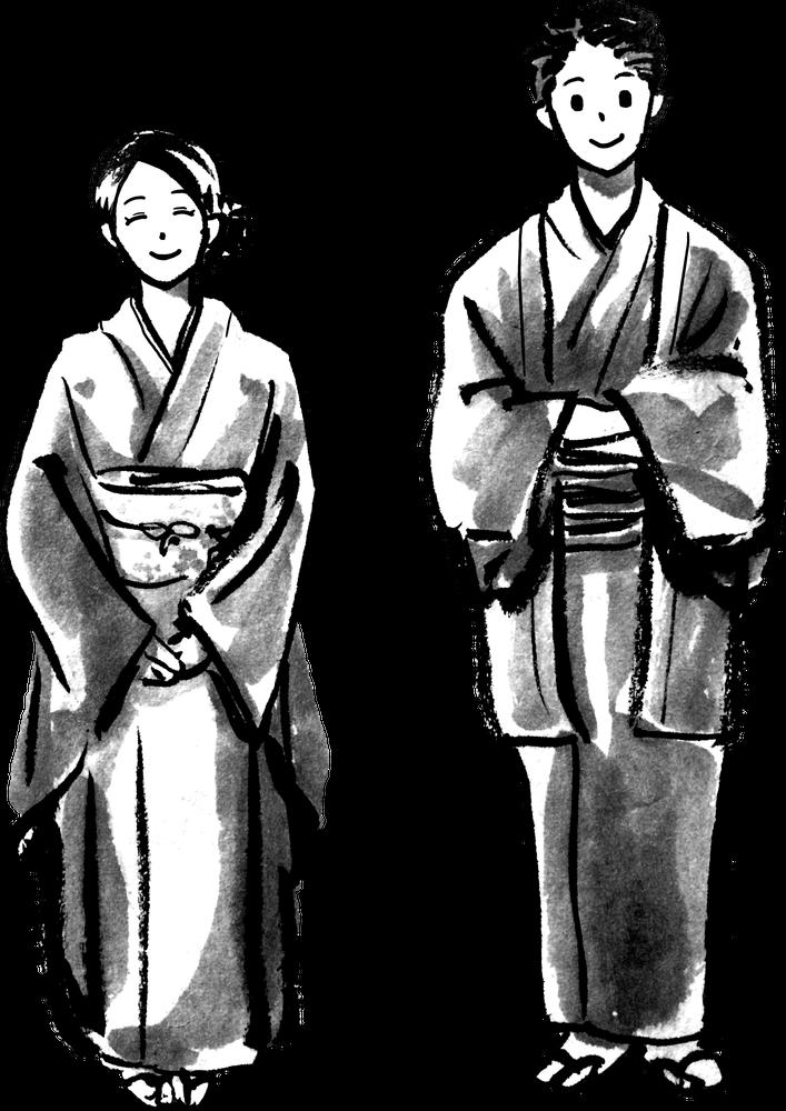 着物の立ち姿のイラスト Stance of kimono samurai