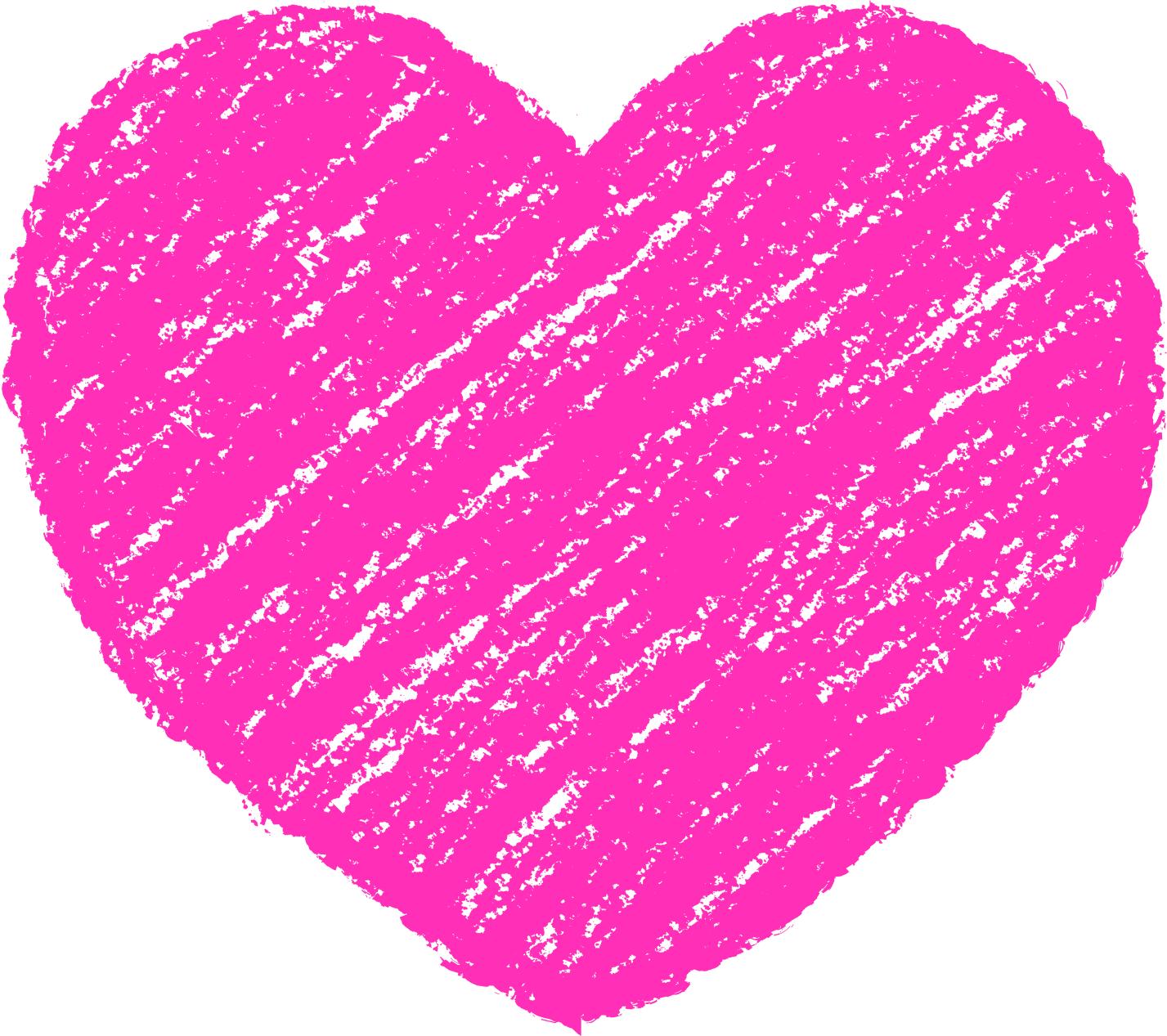 クレヨン塗り背景 桃色 新(ピンク)ハートのイラスト heart_pink