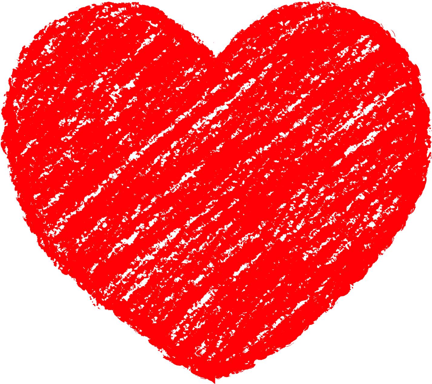 クレヨン塗り背景 赤色 新(レッド)ハートのイラスト heart_red