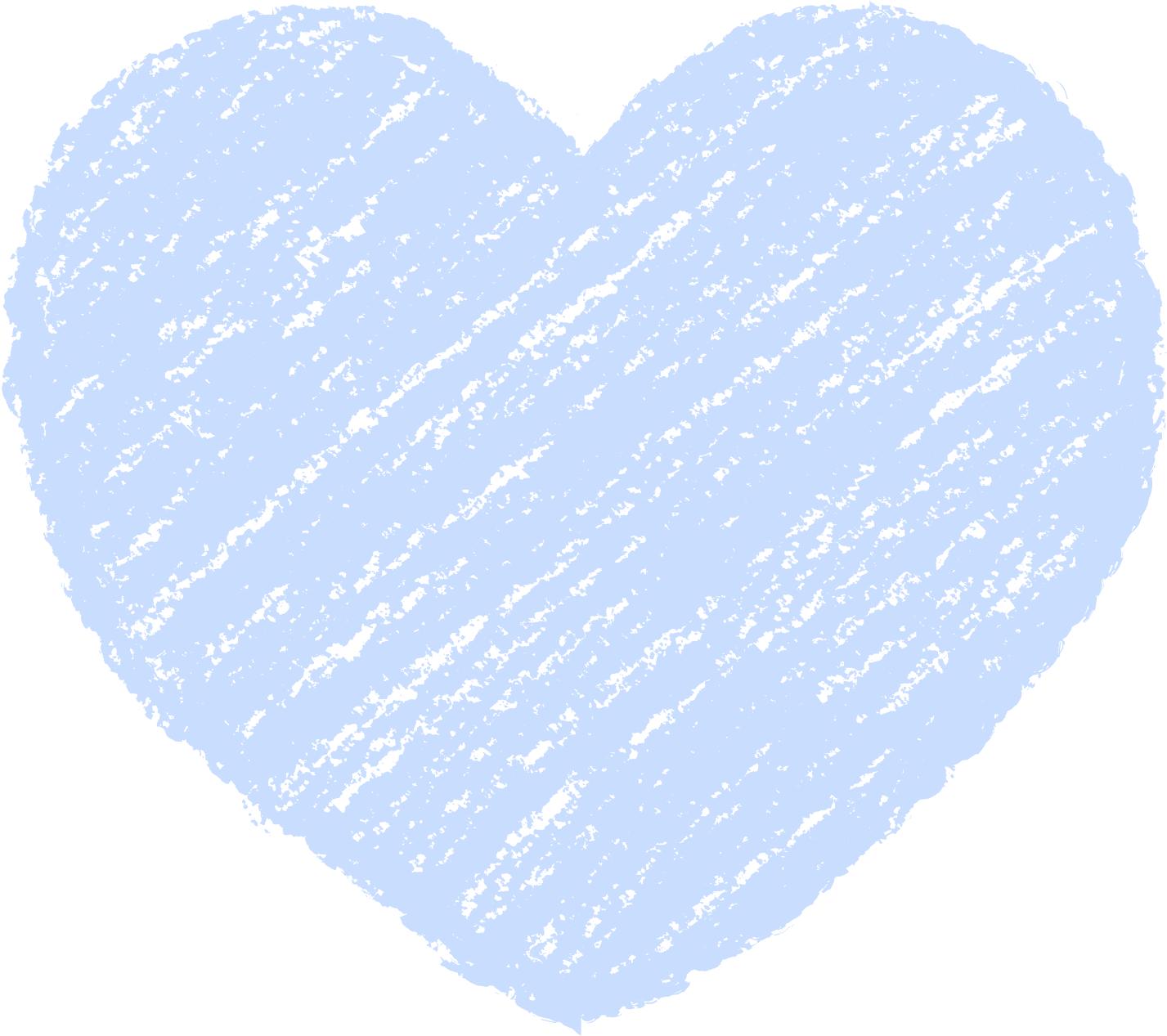 クレヨン塗り背景 パステル 青色 新(ブルー)ハートのイラスト heart_blue
