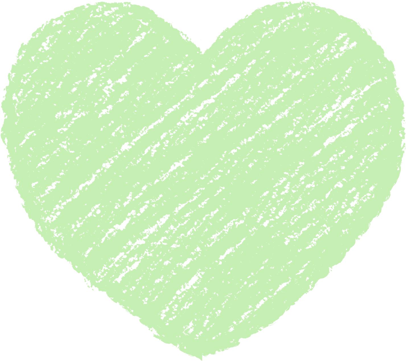クレヨン塗り背景 パステル 緑色 新(グリーン)ハートのイラスト heart_green