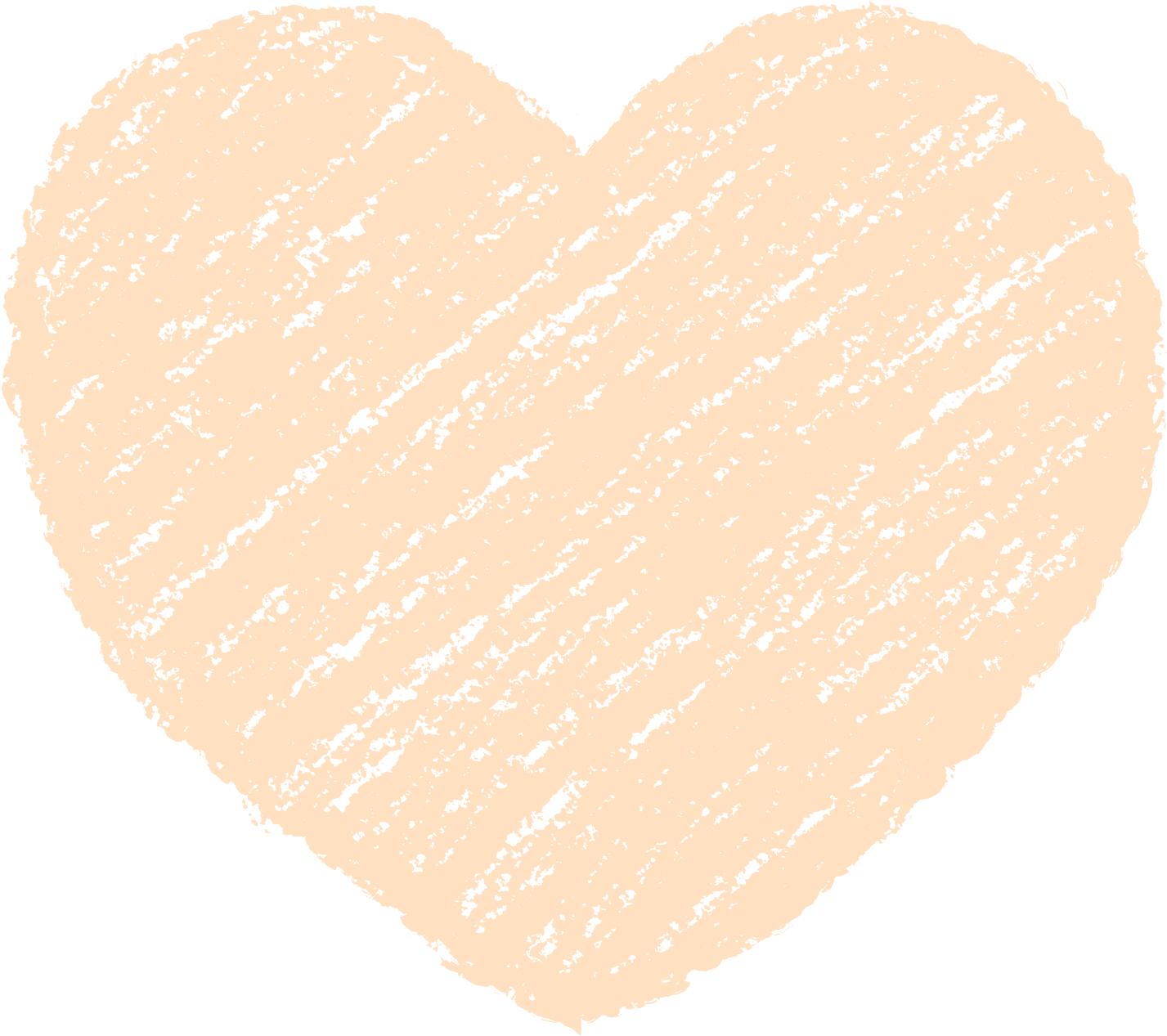 クレヨン塗り背景 パステル だいだい色 新(オレンジ)ハートのイラスト heart_orange