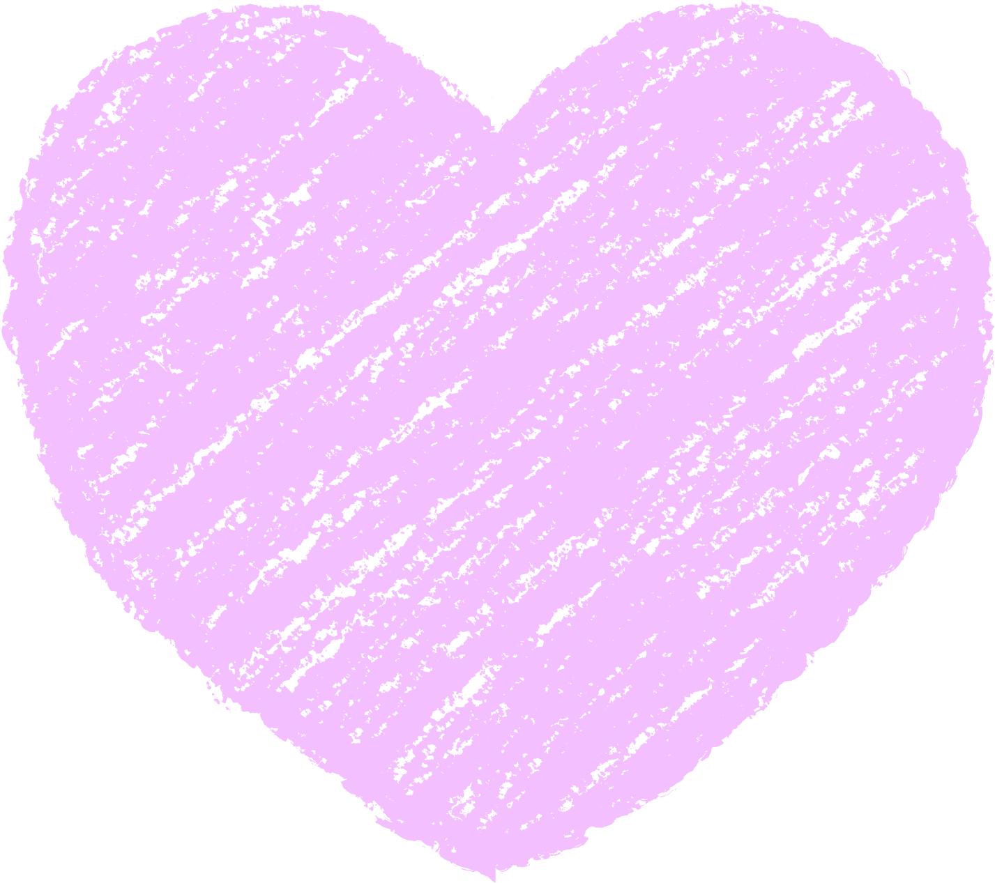 クレヨン塗り背景 パステル 紫色 新(パープル)ハートのイラスト heart_purple