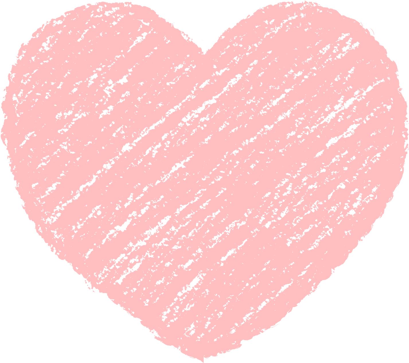 クレヨン塗り背景 パステル 赤色 新(レッド)ハートのイラスト heart_red