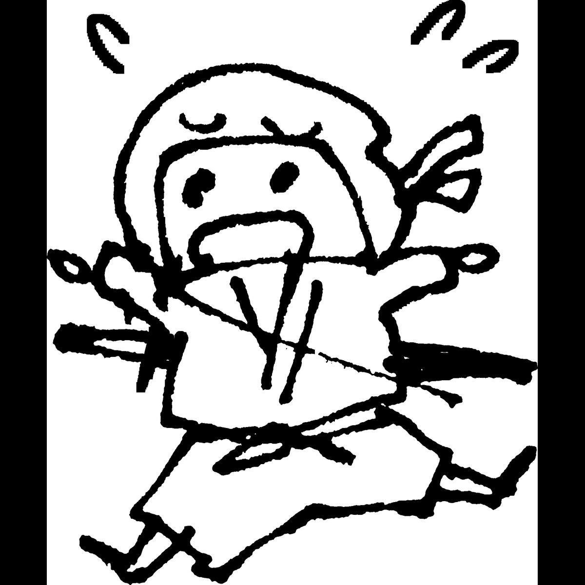 忍者 焦る・慌てるのイラスト Ninja Panic Illust