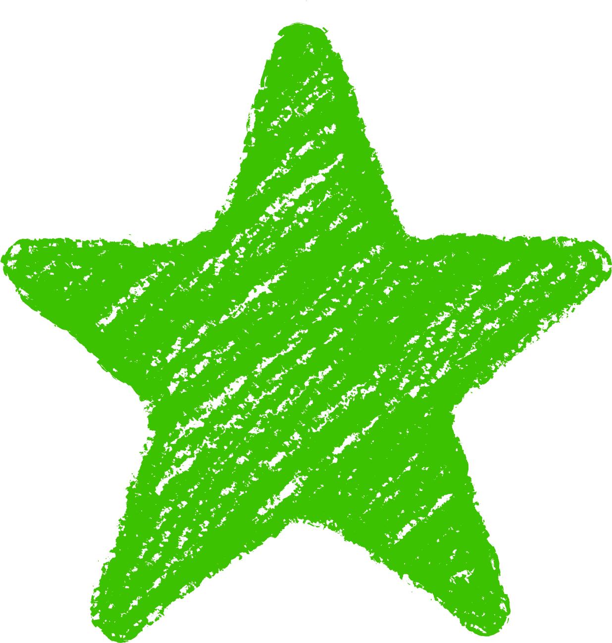 クレヨン塗り背景 緑色 新(グリーン)星のイラスト star_green