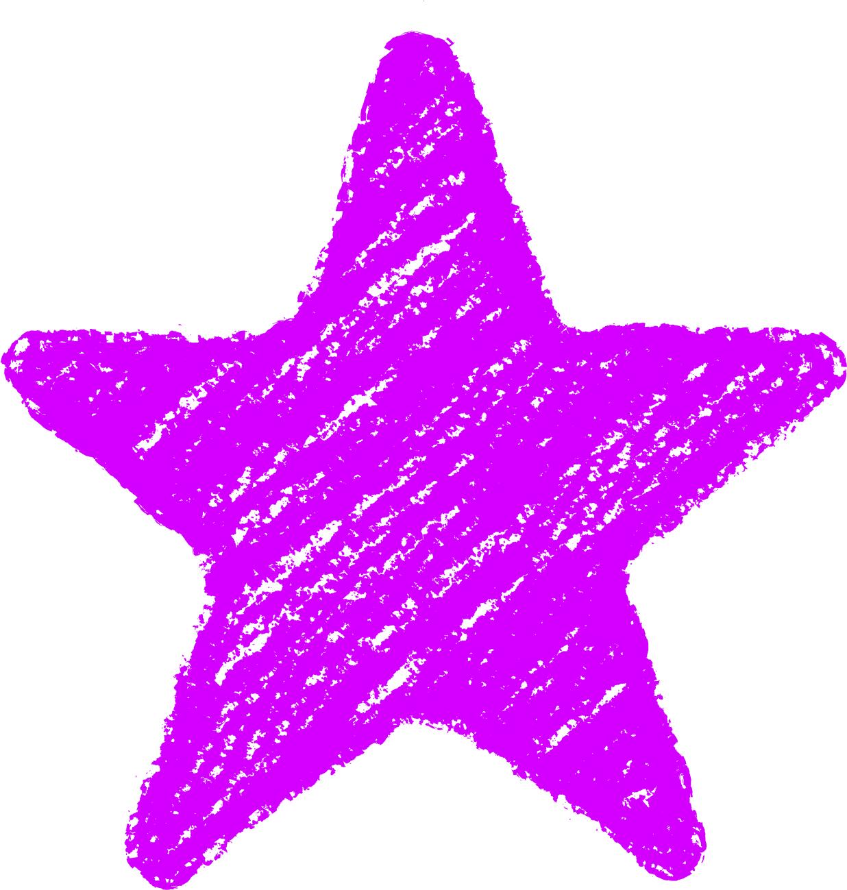 クレヨン塗り背景 紫色 新(パープル)星のイラスト star_purple