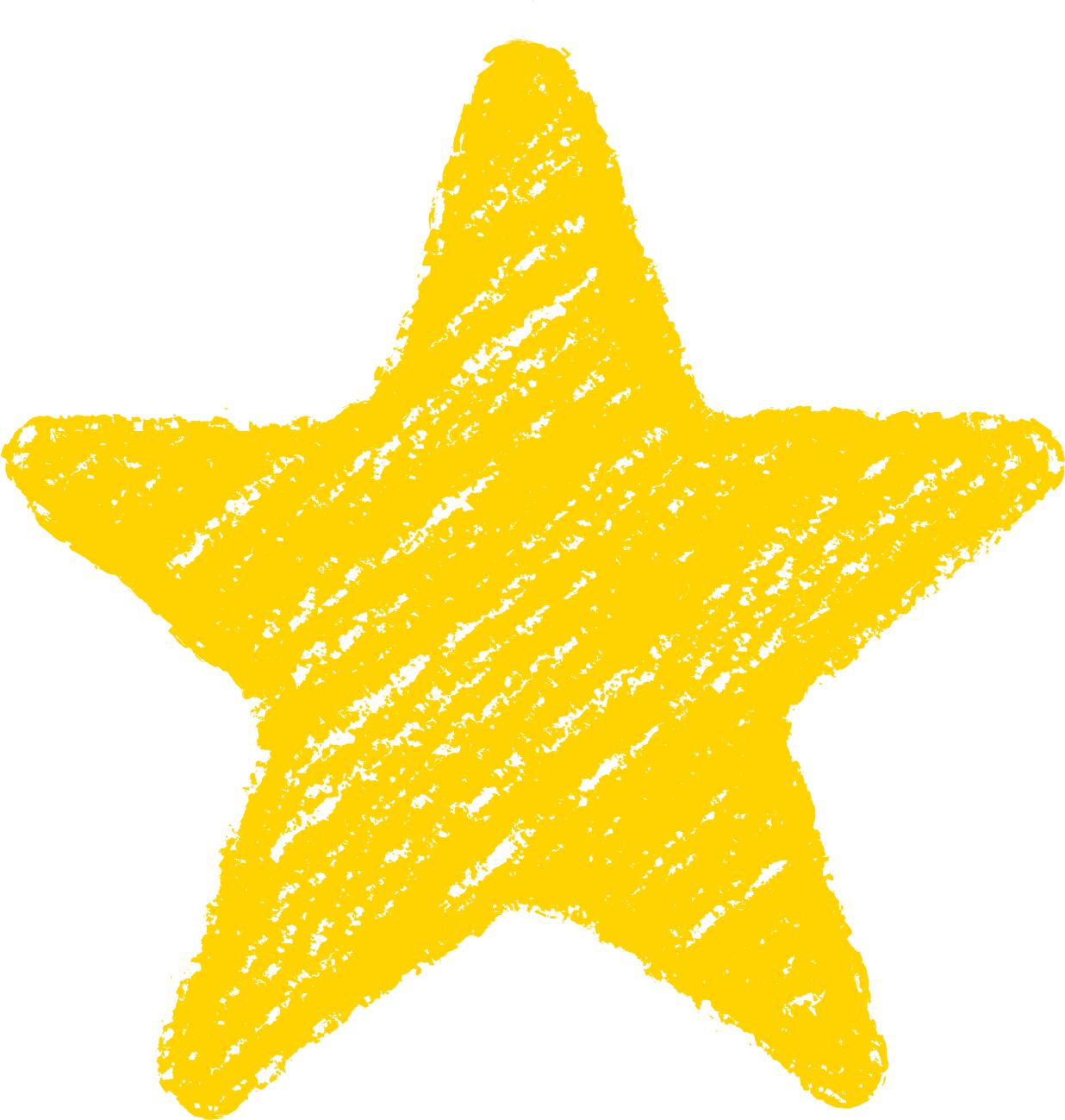 クレヨン塗り背景 黄色 新(イエロー)星のイラスト star_yellow