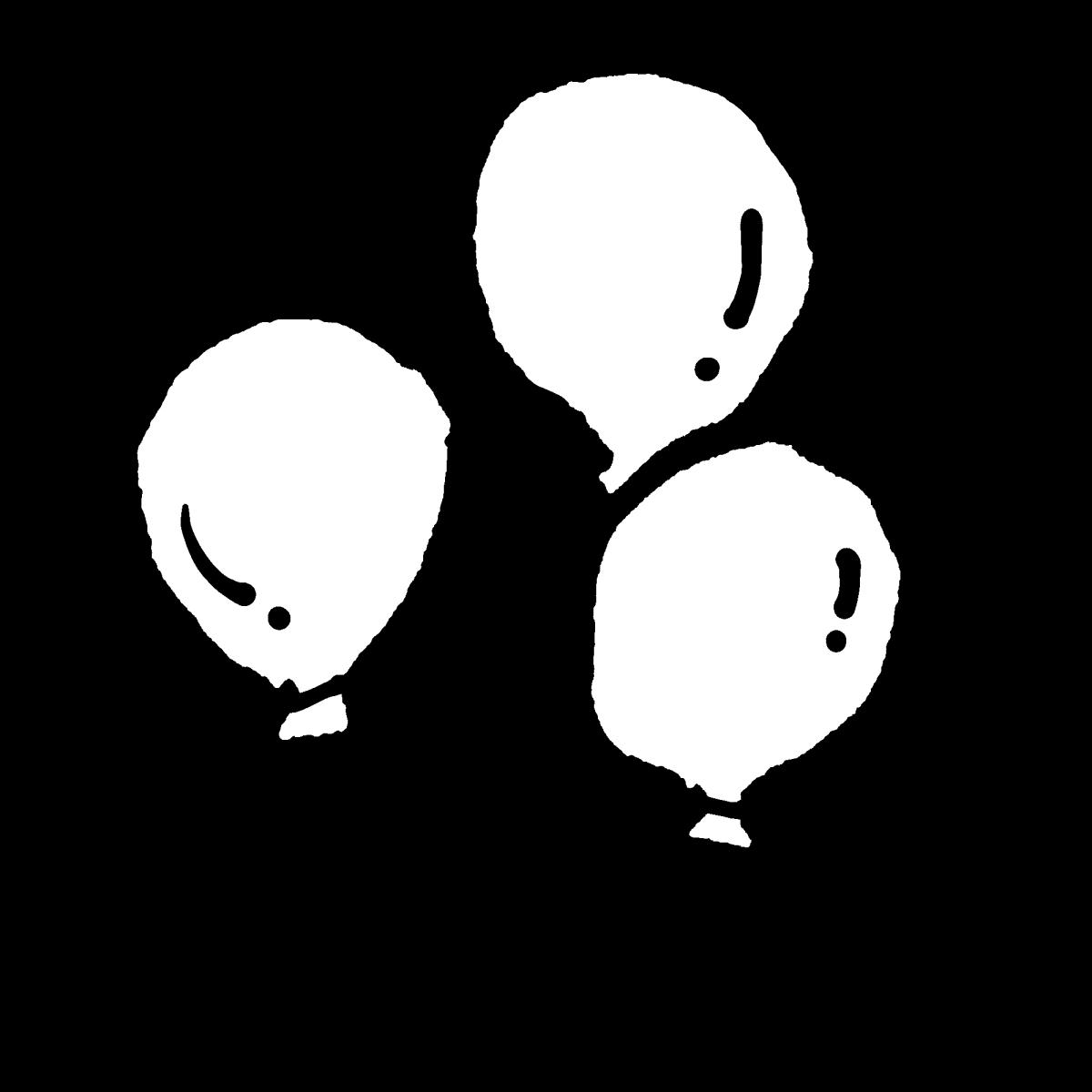 風船たち(2種)のイラスト Balloons (2kinds)  Illustration