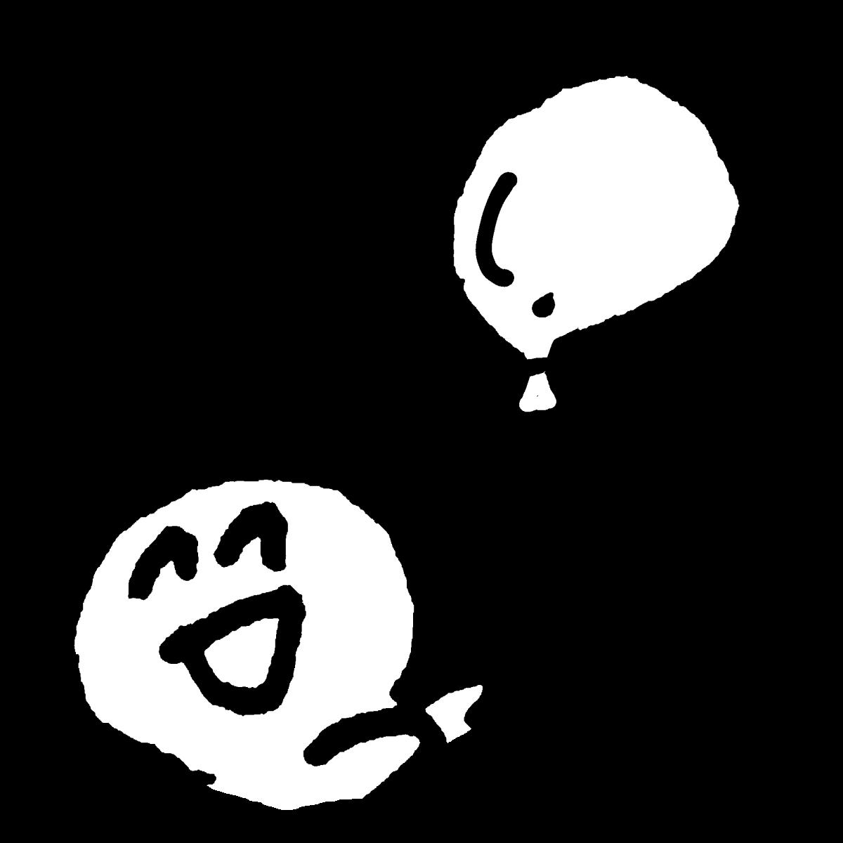 風船を持つ1のイラスト With Balloon1  Illustration