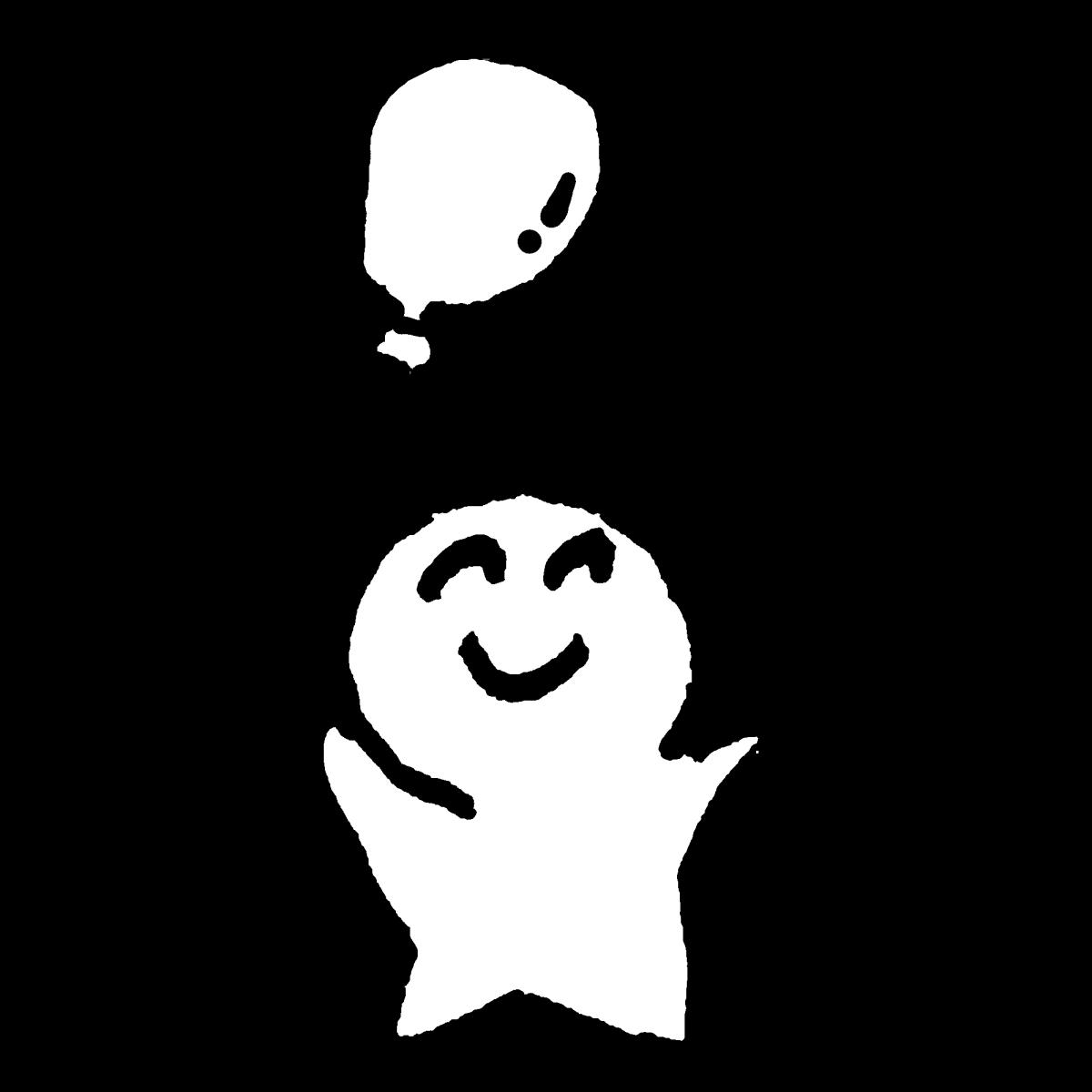 風船を持つ2のイラスト With Balloon2  Illustration