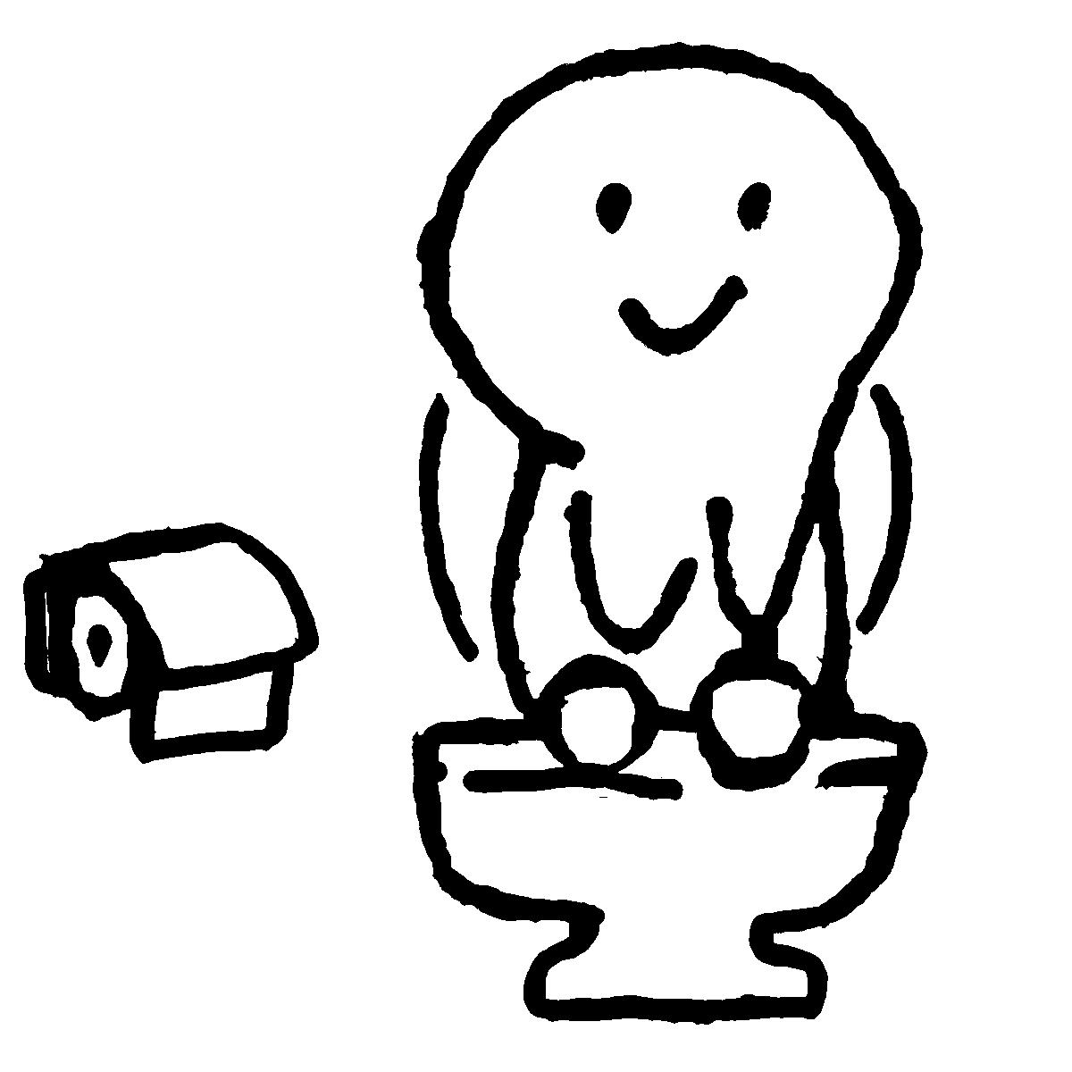 トイレ中2のイラスト / Toilet2 Illustration