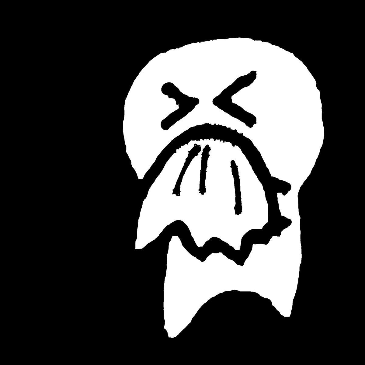 鼻をかむ(字なし有)のイラスト / Blow nose Illustration