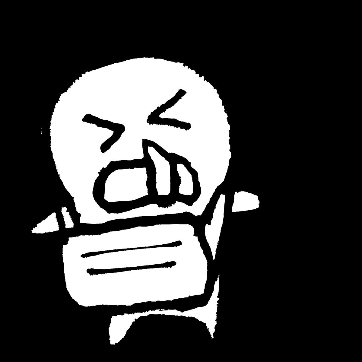 マスクをしてくしゃみ2(字なし有)のイラスト / Sneezing with a mask2Coronavirus Illustration