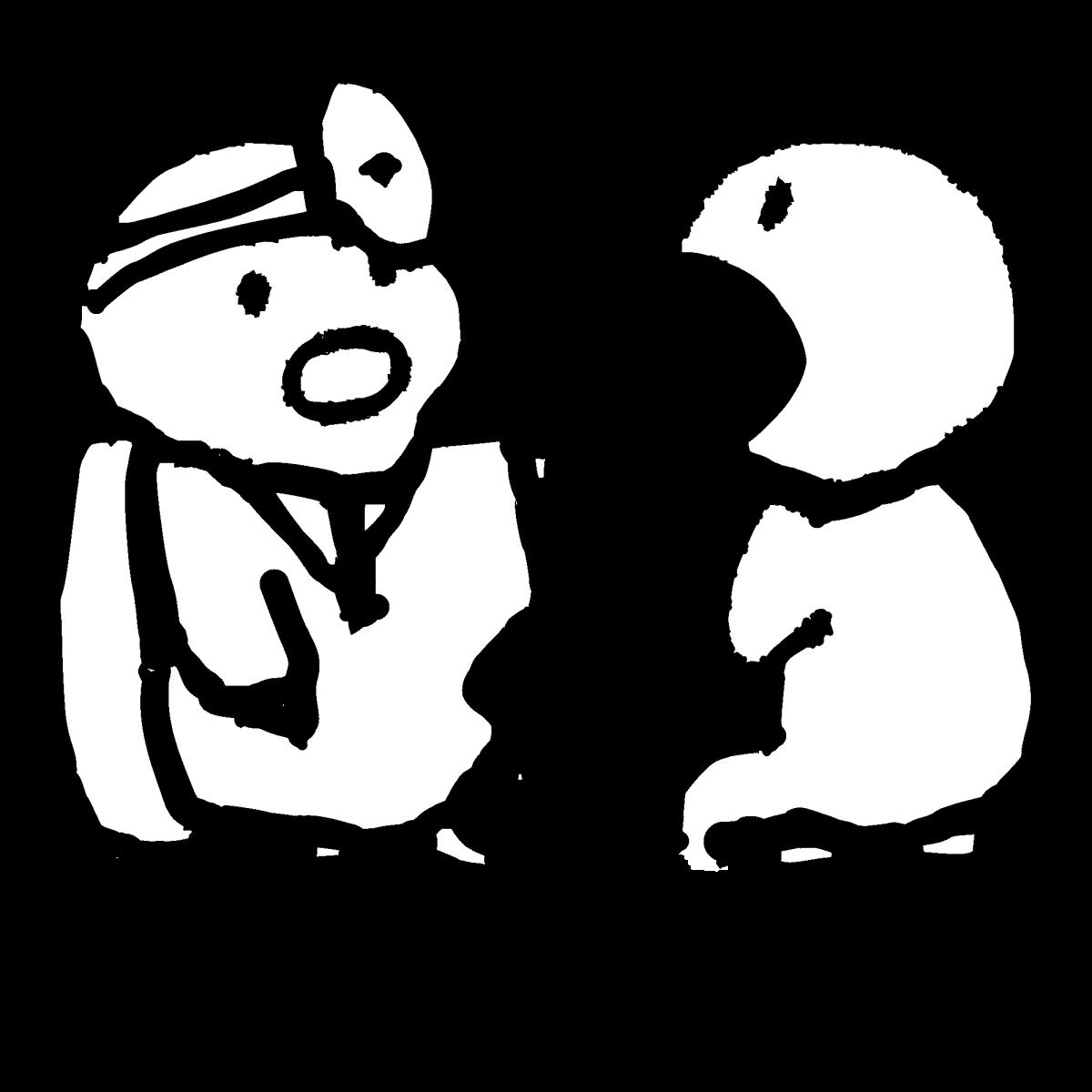 診察(口を開ける)のイラスト Examination (open one's mouth)  Illustration