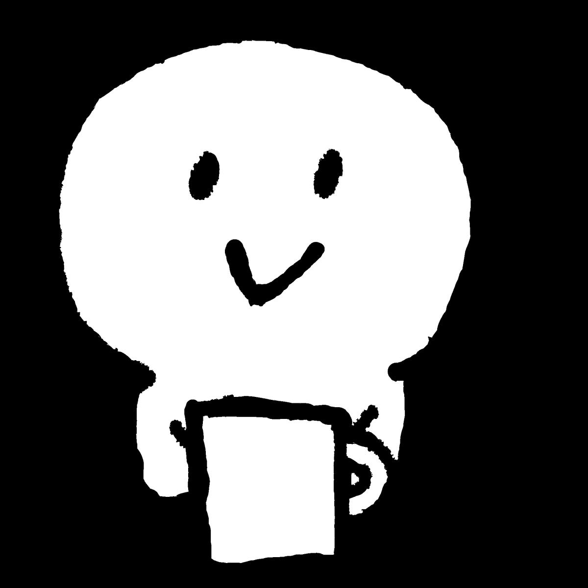 コップを持つのイラスト / Have a cup Illustration