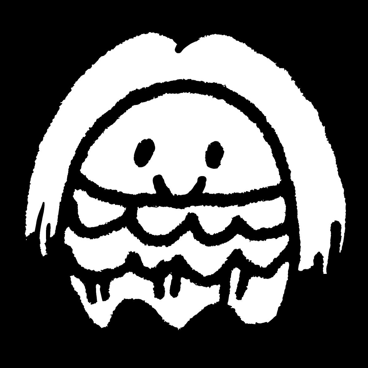 アマビエ1(2種)丸いのイラスト / Amabie1 (2types) Illustration