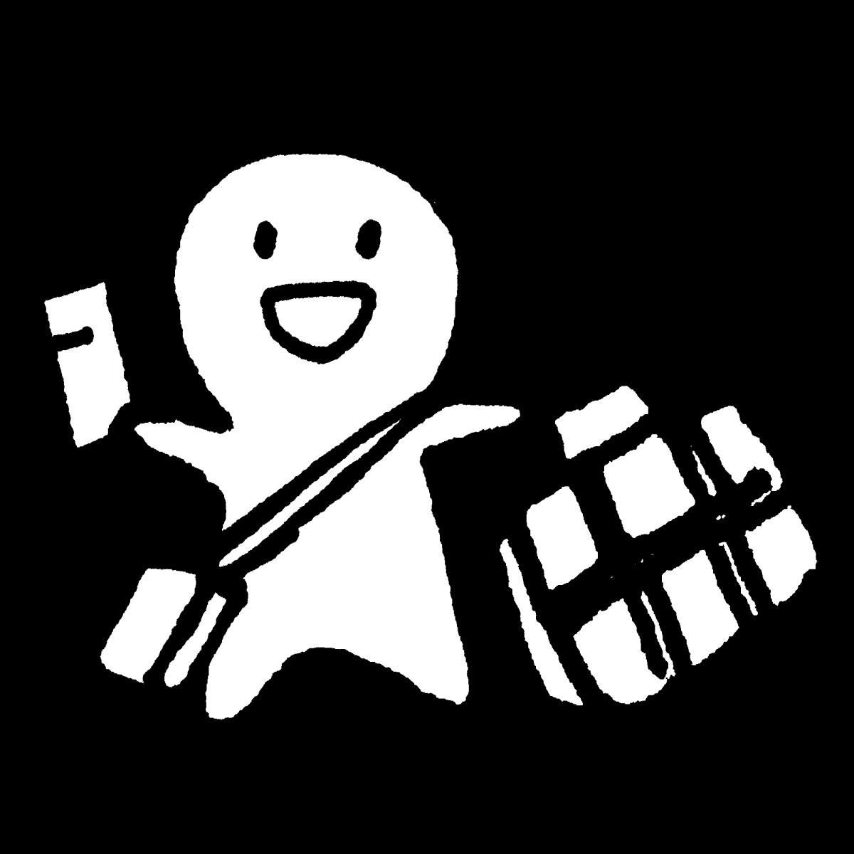 チケットと旅行かばんで出発のイラスト Ticket & travel bag  Illustration