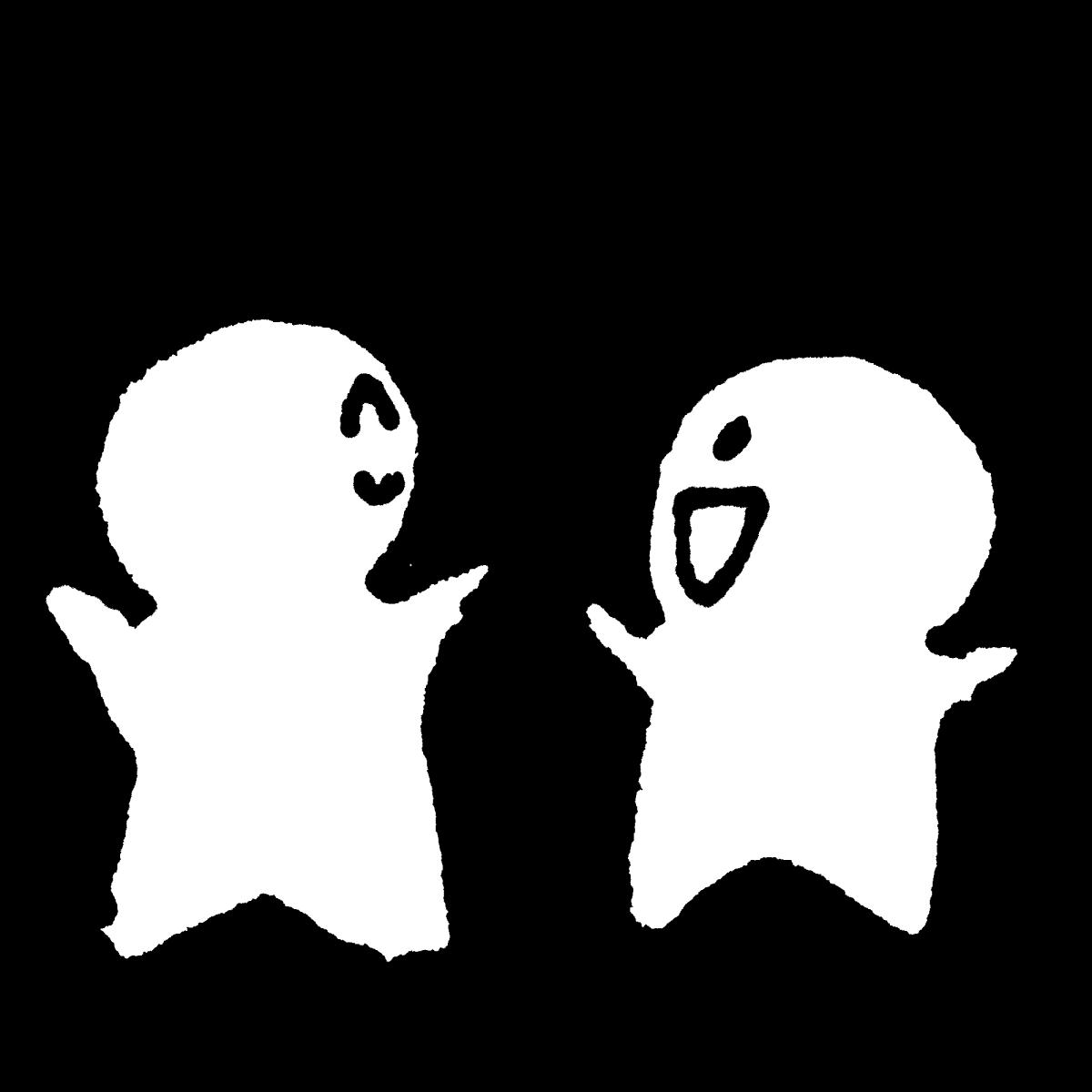 喜ぶ二人の背中のイラスト Two rejoicing backs  Illustration