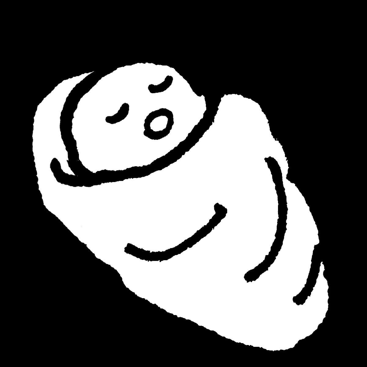 おくるみで寝る赤ちゃんのイラスト / A baby who sleeps in a swaddling blanket Illustration