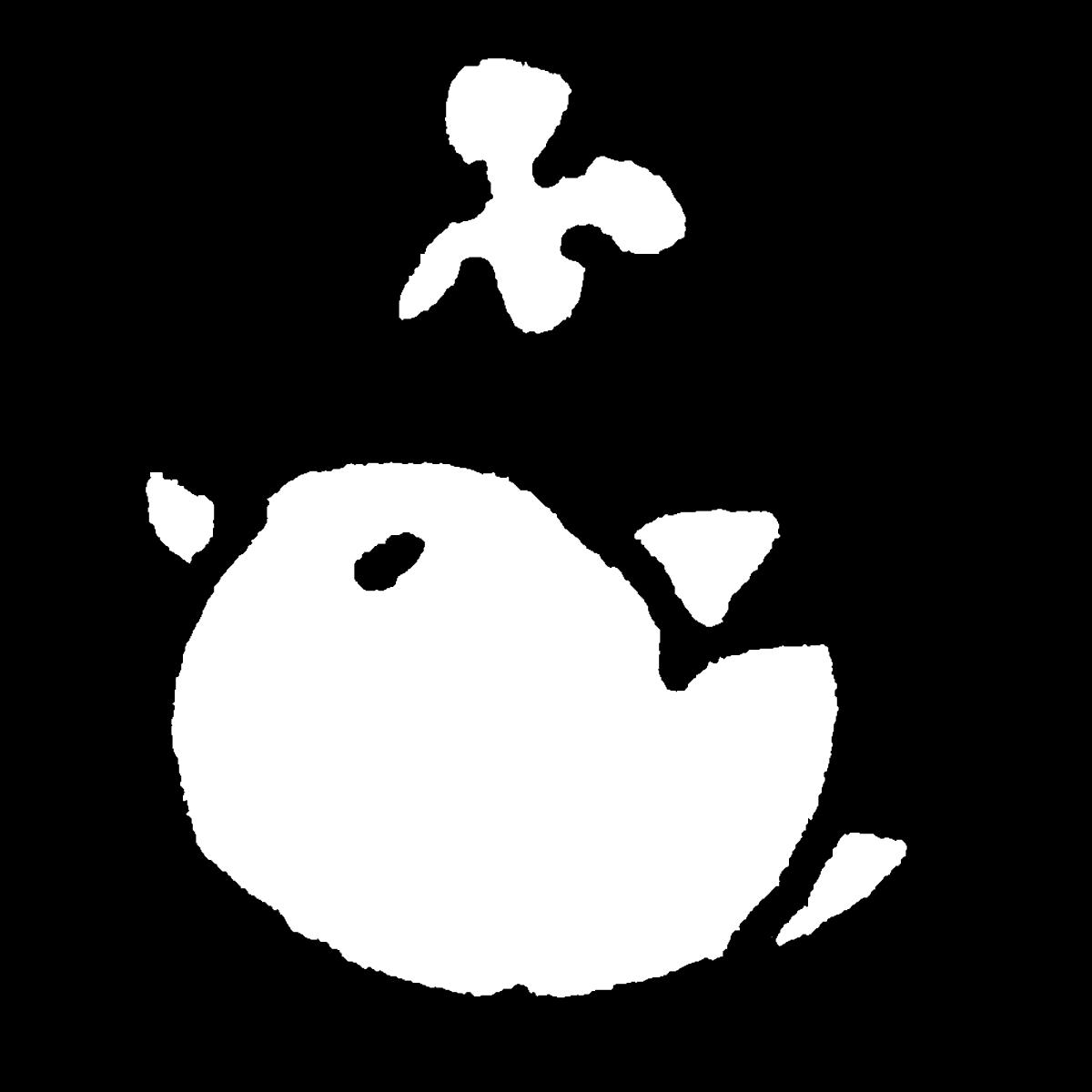 クローバーと鳥(左向き)のイラスト Clovers and birds (left)  Illustration