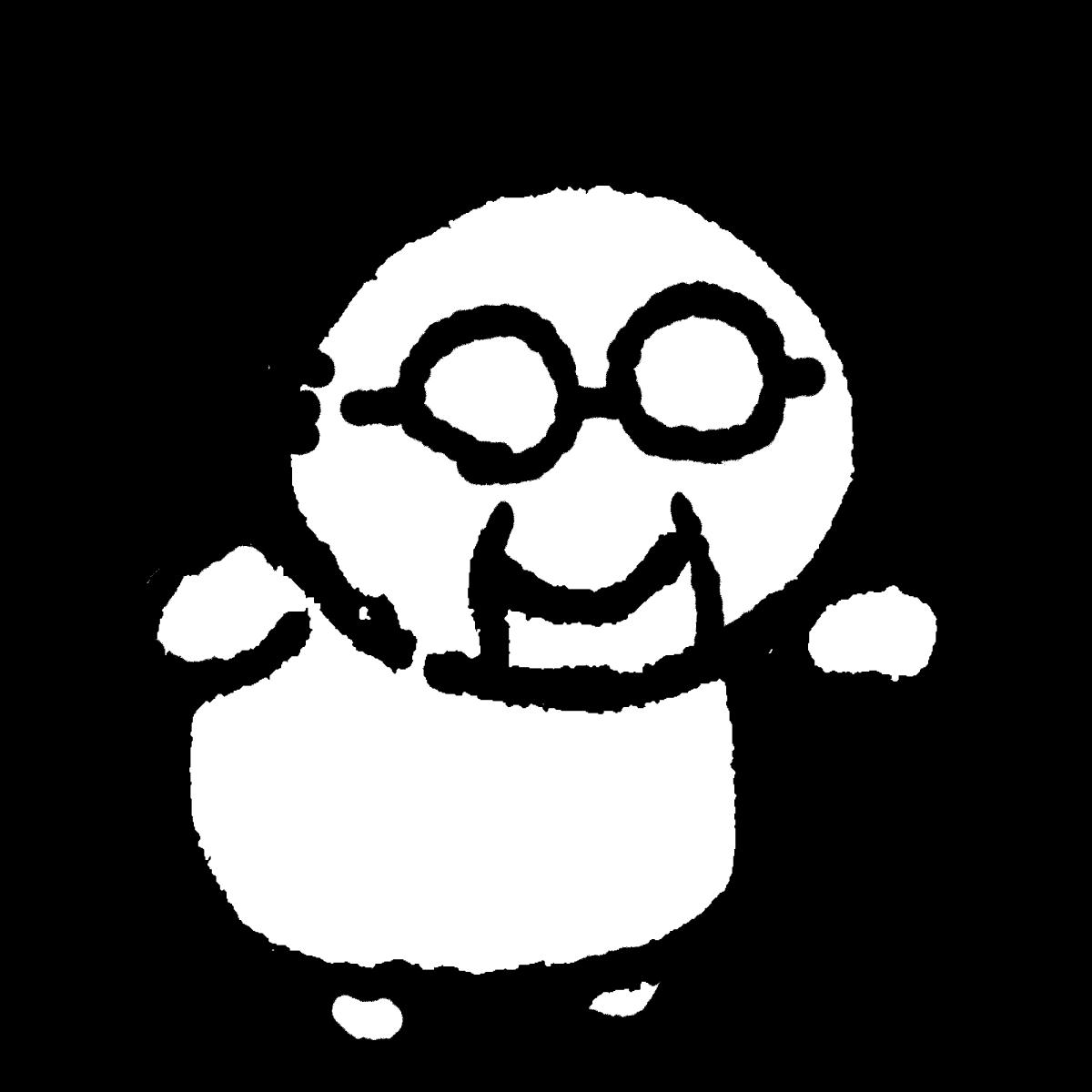 杖のおじいさんのイラスト Old man with a cane  Illustration