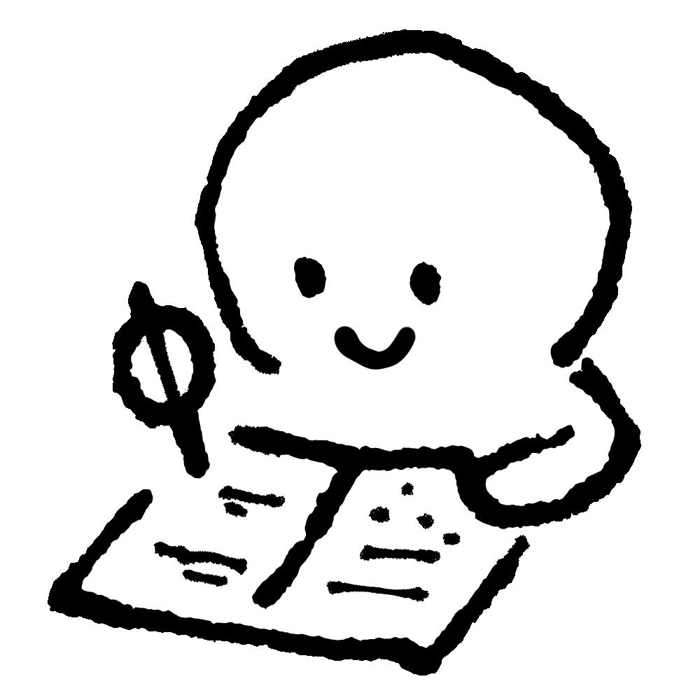 ノートに書く+ひらめき(3種)のイラスト / Write in a notebook Illustration
