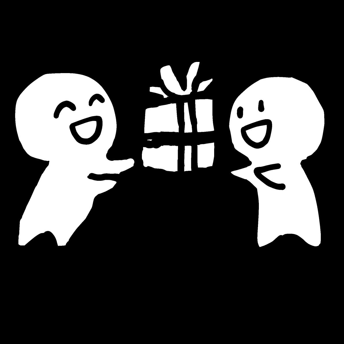 プレゼントを渡すのイラスト / Give someone a present Illustration