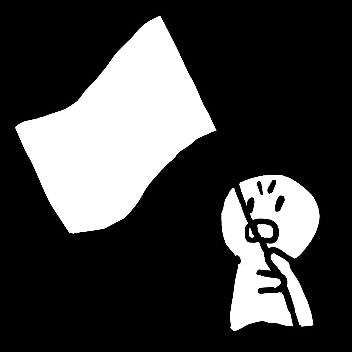 旗士が手旗を持つ1のイラスト a flagman holding a flag  Illustration