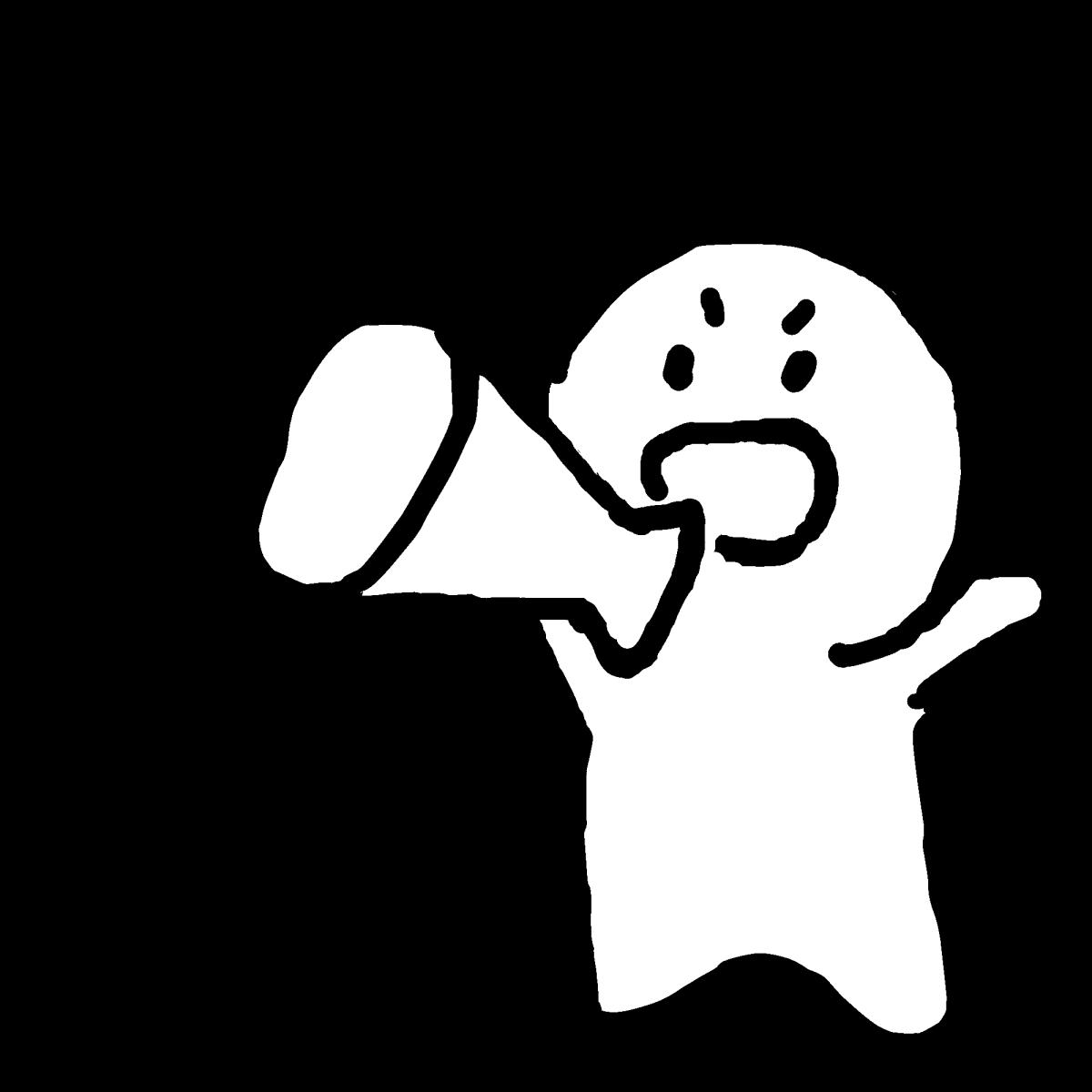 メガホンを持って叫ぶのイラスト / shout with a megaphone Illustration