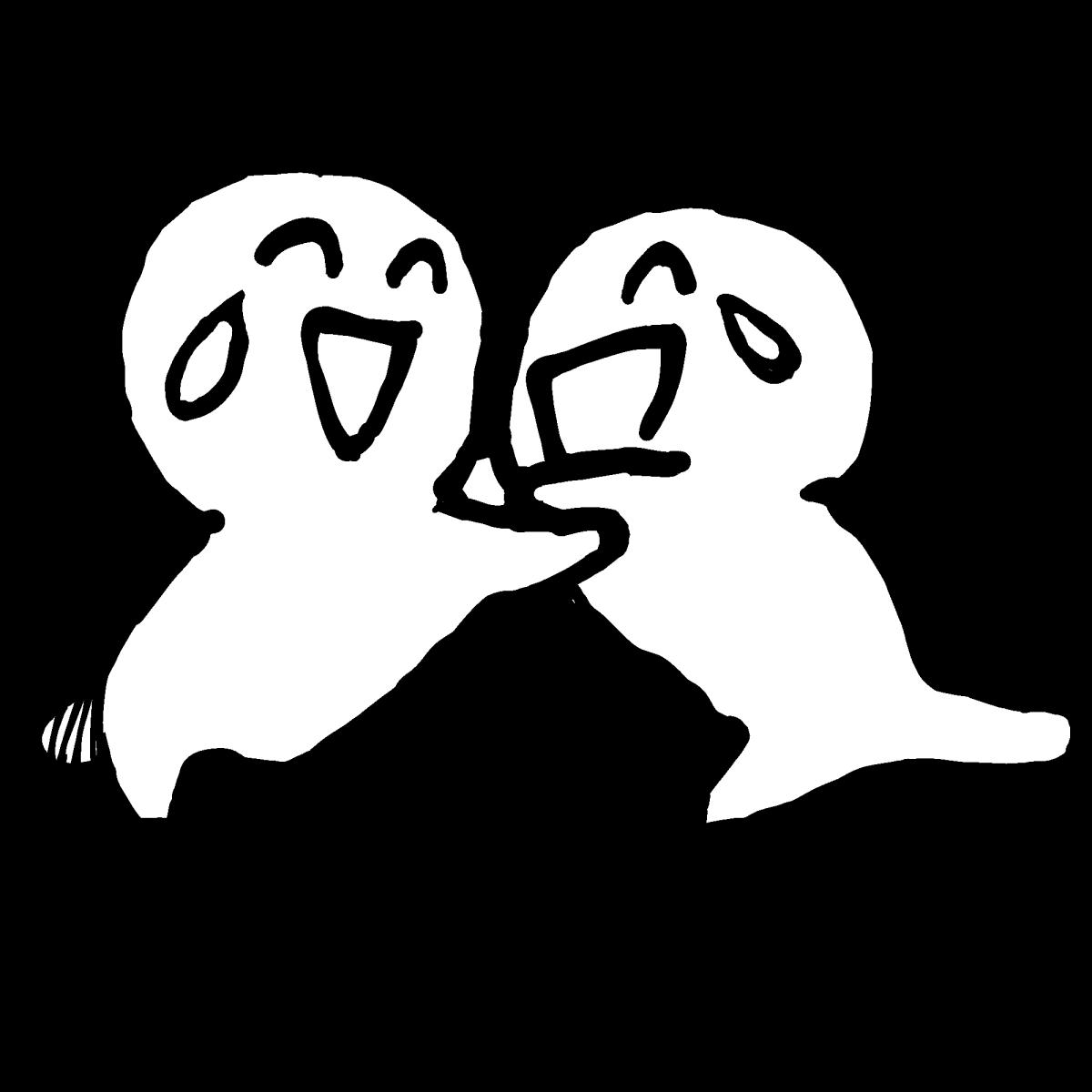 仲間と大喜び1(2種)のイラスト Exultant with friends1  Illustration