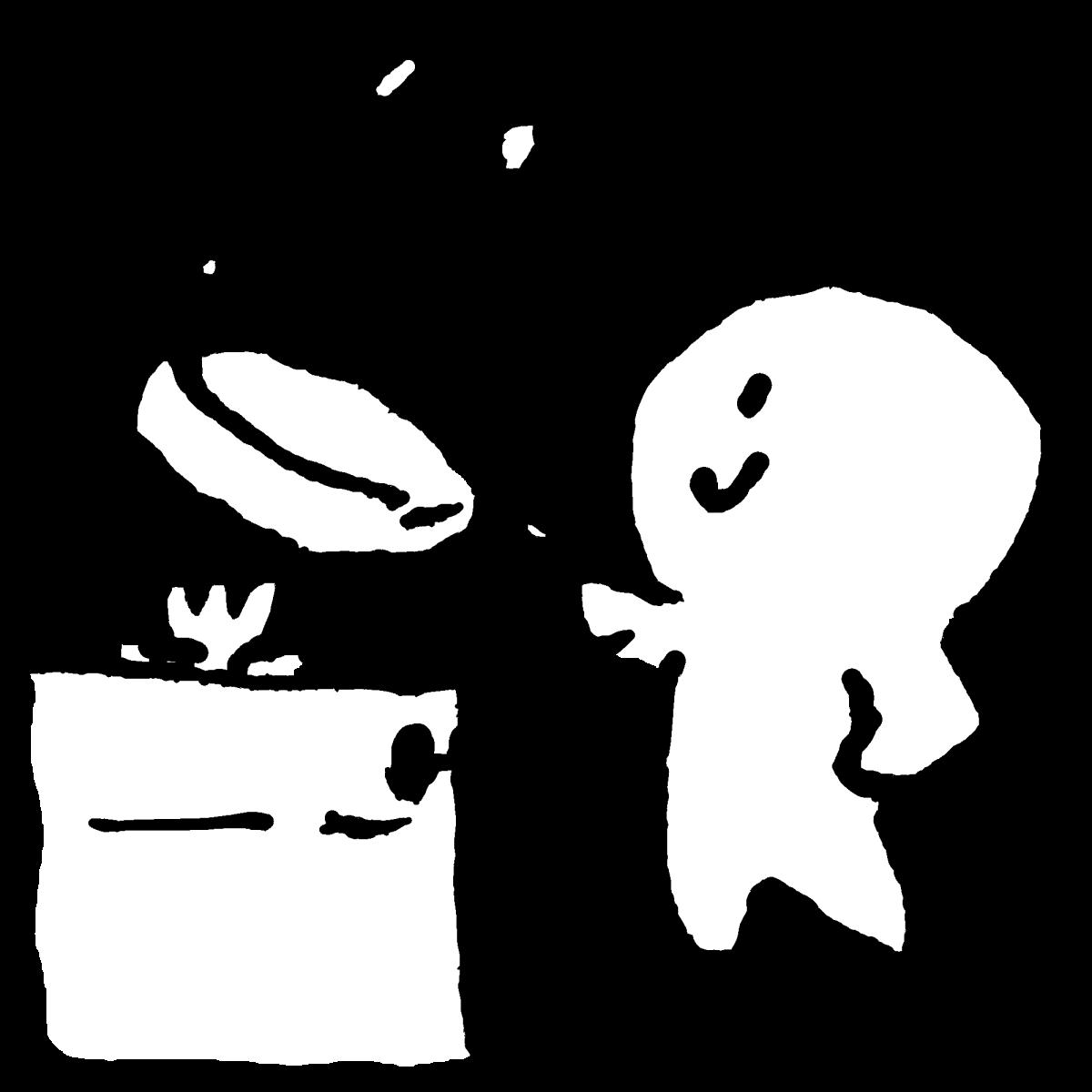 フライパンで焼くのイラスト fry in a frying pan  Illustration