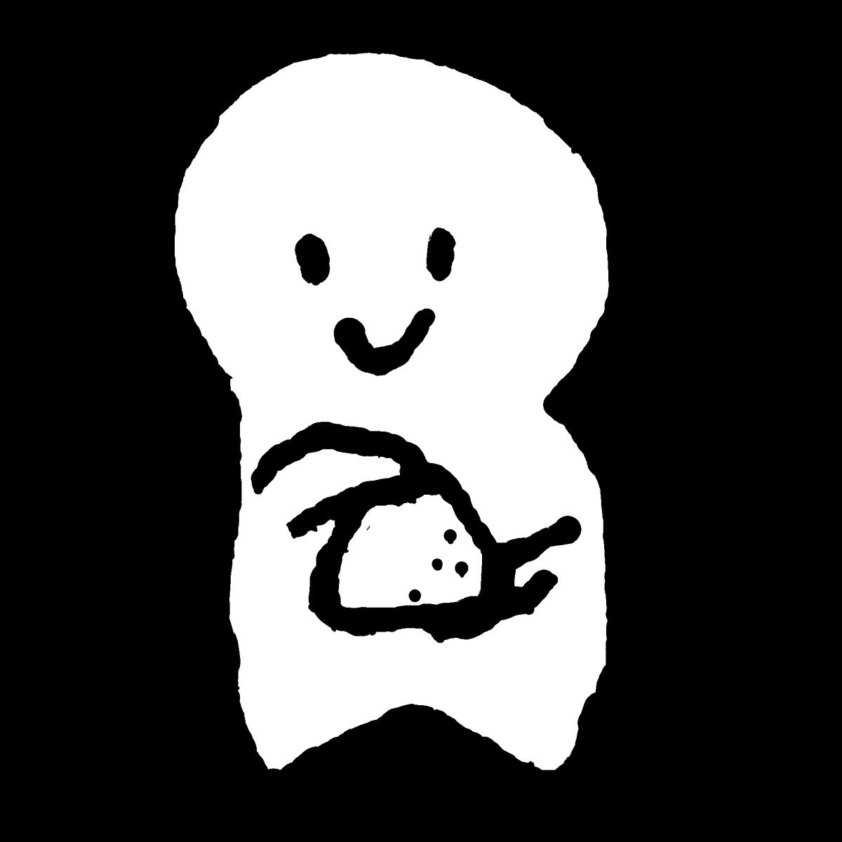 おにぎりを握るのイラスト / Make a rice ball. Illustration
