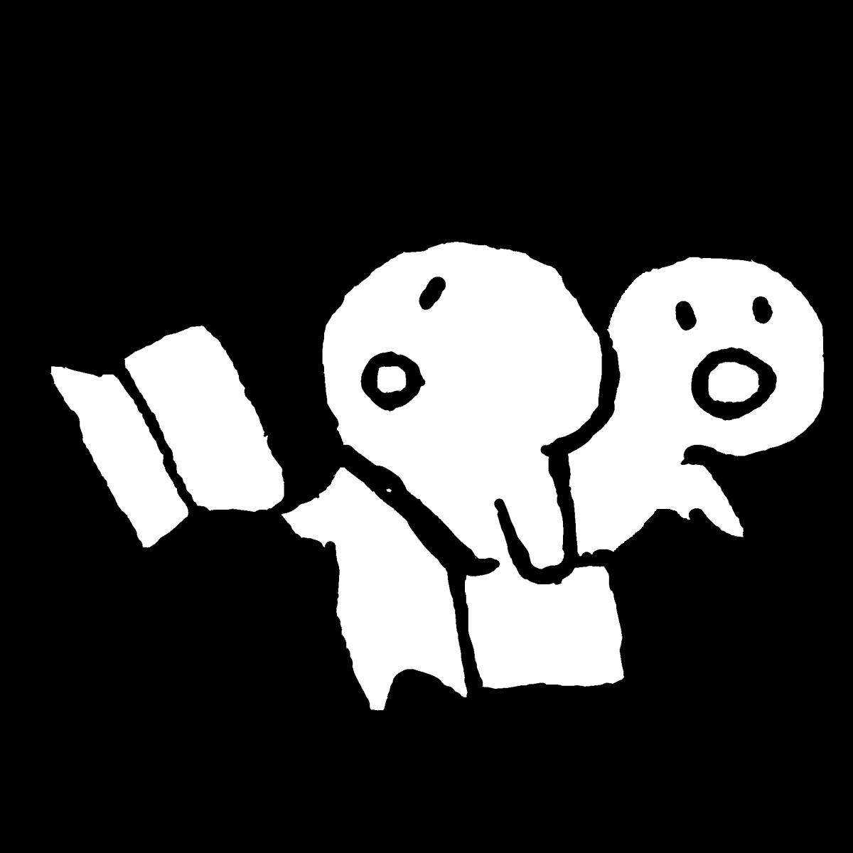 紙を持って迷う2のイラスト / Getting lost with paper3 Illustration