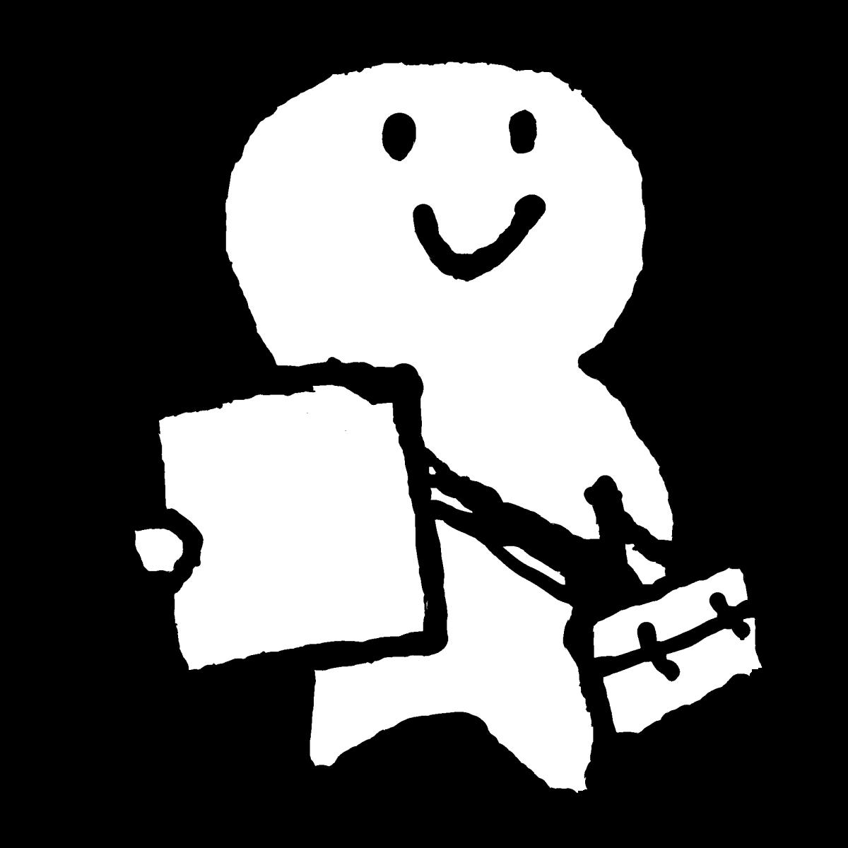 紙を持って出かけるのイラスト / hold paper Illustration