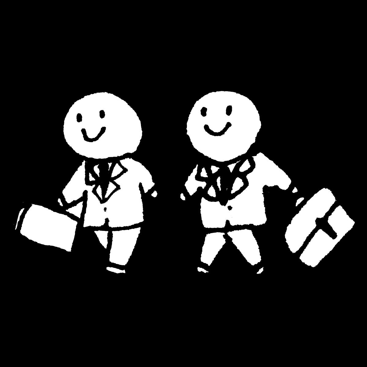 歩く2人のサラリーマンのイラスト / Two office workers walking Illustration