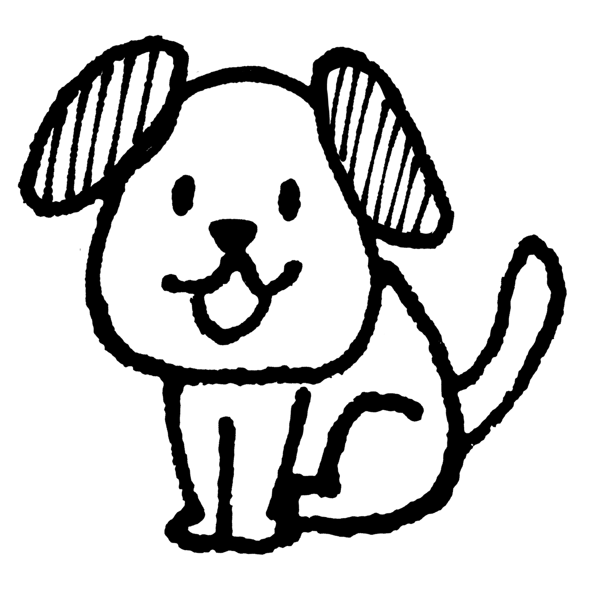 座る犬のイラスト Sitting dog  Illustration