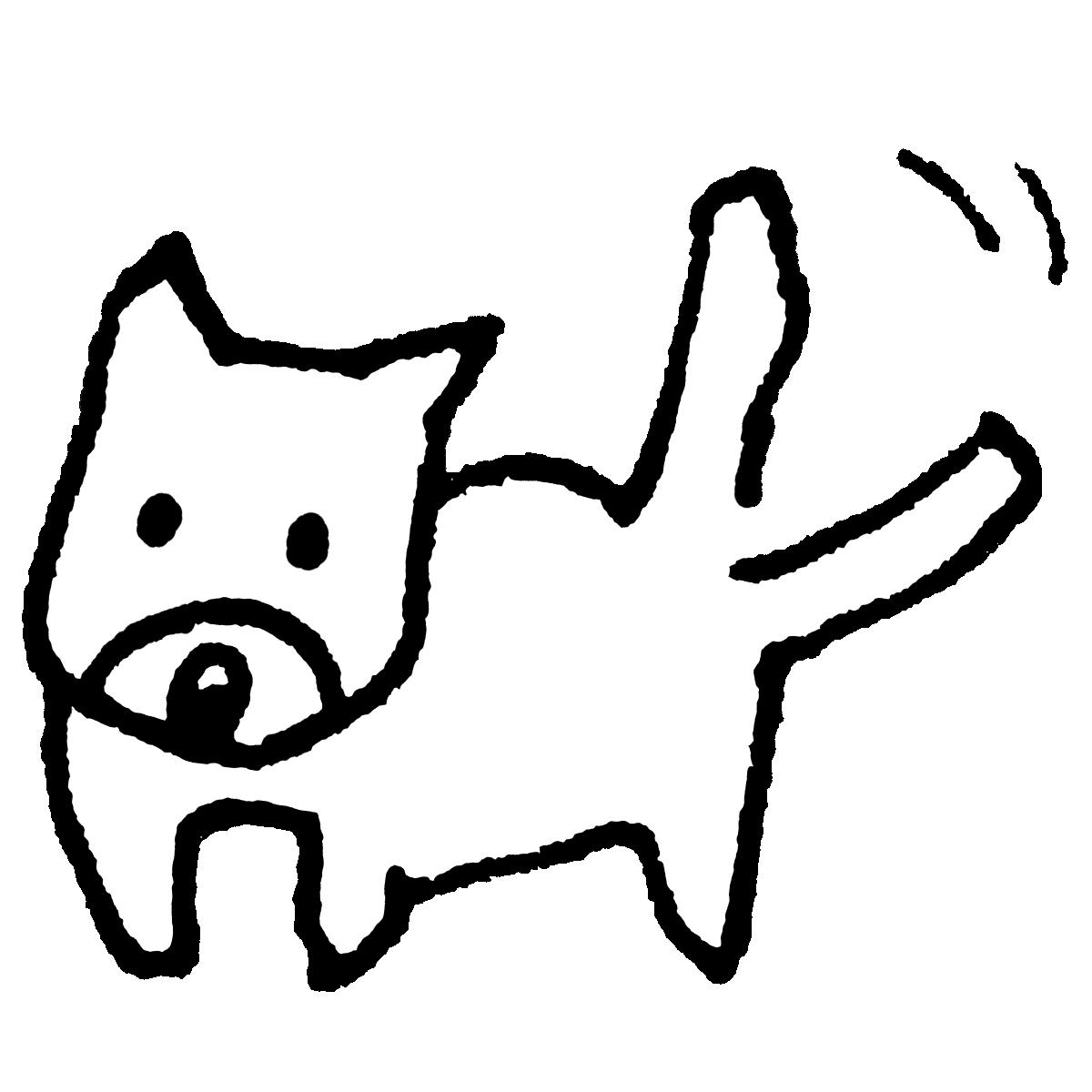 立っている犬2/尾を振るのイラスト / Standing Dog 2/Wagging Tail Illustration