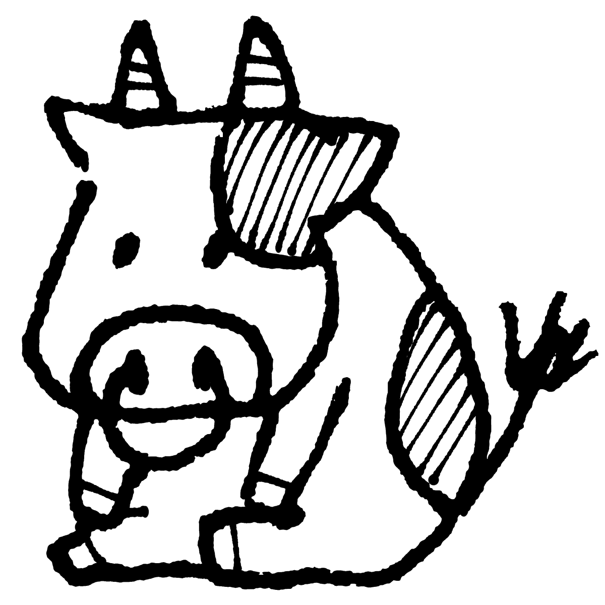 座る牛のイラスト / Sitting cow Illustration