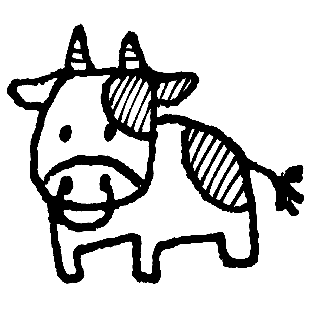 立つ牛のイラスト / Standing cow Illustration